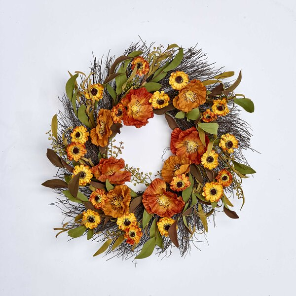 Fall Flower On Natural Twig Base 22 Wreath by August Grove