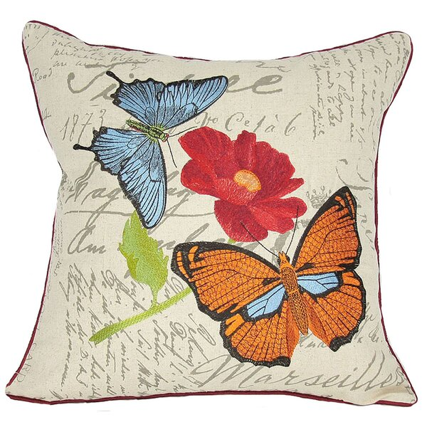 Papillion on Poppy Throw Pillow by Manor Luxe