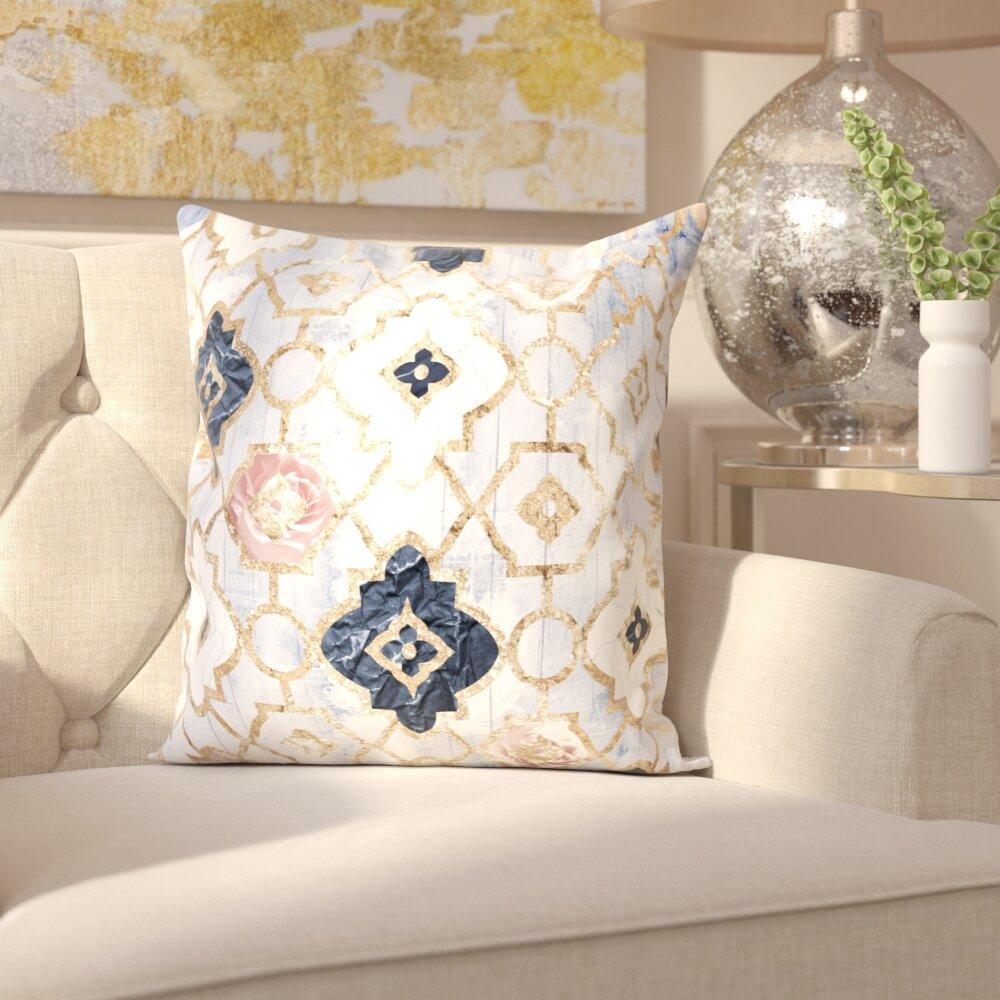 House of Hampton Tufnell Rose Quartz Moroccan Velvet Throw Pillow ...