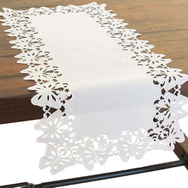 Primavera Embroidered Cutwork Table Runner by Xia Home Fashions