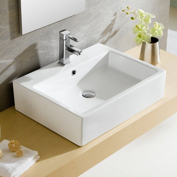 Modern Ceramic Rectangular Vessel Bathroom Sink with Overflow by Fine Fixtures
