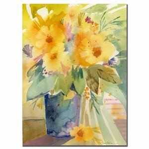 Yellow by Sheila Golden Framed Painting Print on Wrapped Canvas by Trademark Fine Art