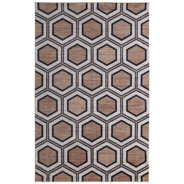 Pauling Honeycomb Geometric Charcoal/Taupe Area Rug by Brayden Studio