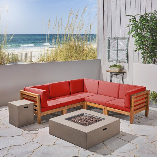 Neil V-Shaped 7 Piece Sectional Seating Group with Cushions by Longshore Tides