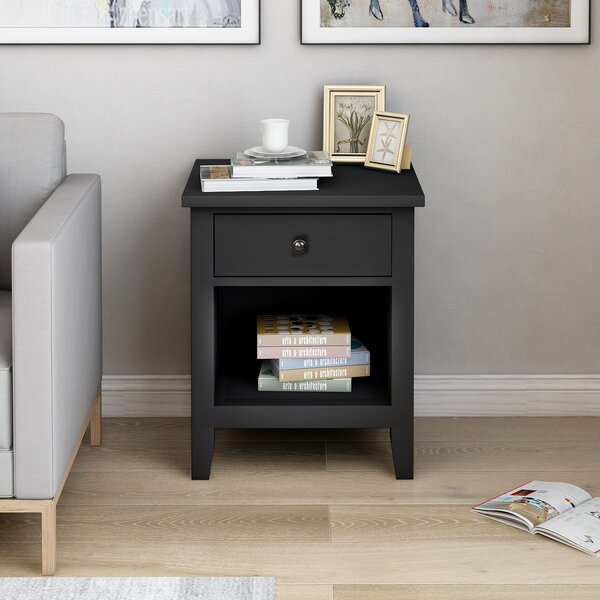 Adelmar 1 - Drawer Solid Wood Nightstand In Black By Red Barrel Studio