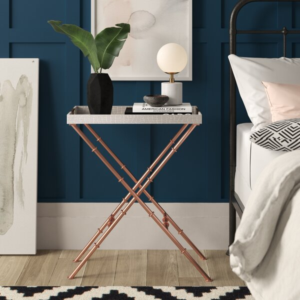 Lauver Tray Top Cross Legs End Table By Mercury Row