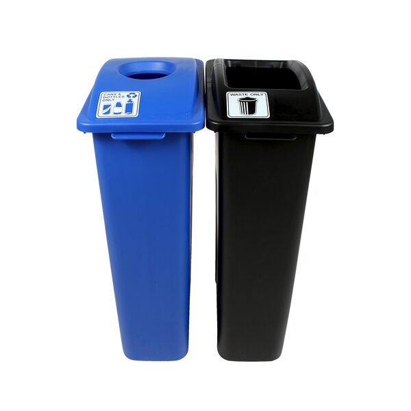 Waste Watcher® Cans and Bottles Double 46 Gallon 2 Piece Recycling Bin and Trash Can Set by Busch Systems