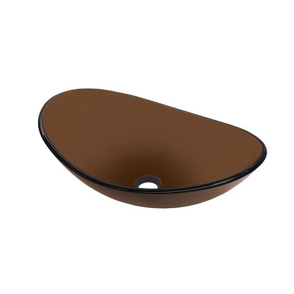 Babbuccia Glass Oval Vessel Bathroom Sink by Novatto
