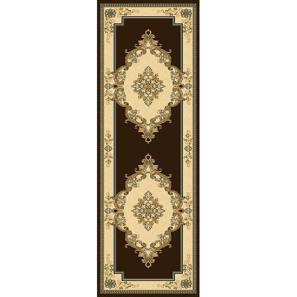 Ramsel 3D Traditional Oriental Floral Brown/Beige Area Rug by Astoria Grand