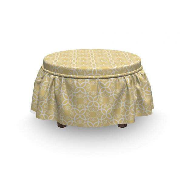 Ornate Floral 2 Piece Box Cushion Ottoman Slipcover Set By East Urban Home