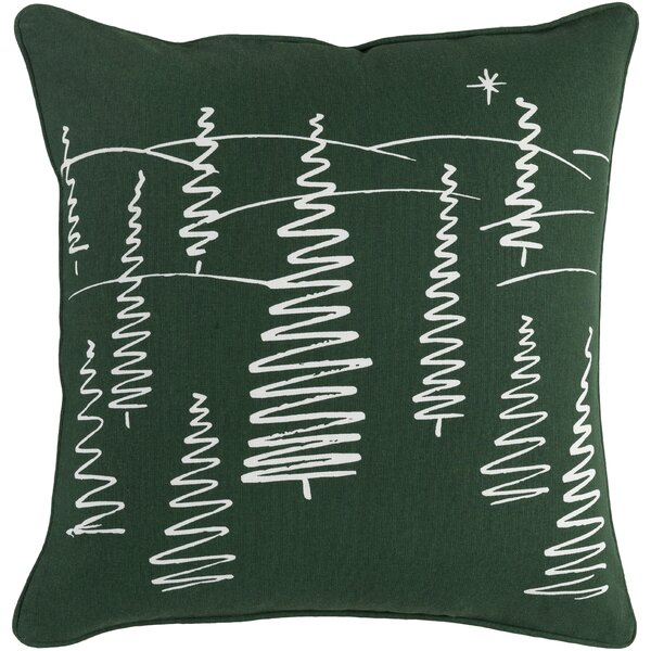 Pisani Evergreen Cotton Throw Pillow by Loon Peak