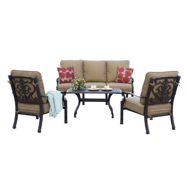 Batista 4 Piece Sofa Set with Cushions by Fleur De Lis Living