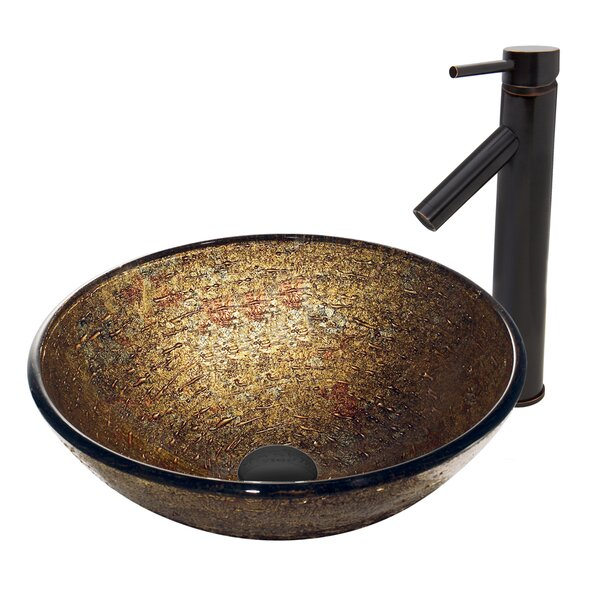 Textured Copper Glass Circular Vessel Bathroom Sink with Faucet by VIGO