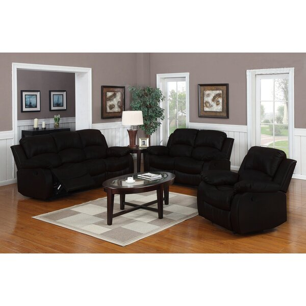 Classic Reclining 3 Piece Leather Living Room Set by Madison Home USA