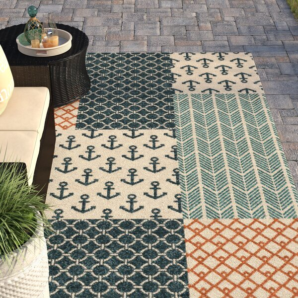 Portwood Patchwork Azo Blue/Cream/Coral Indoor/Outdoor Area Rug by Beachcrest Home