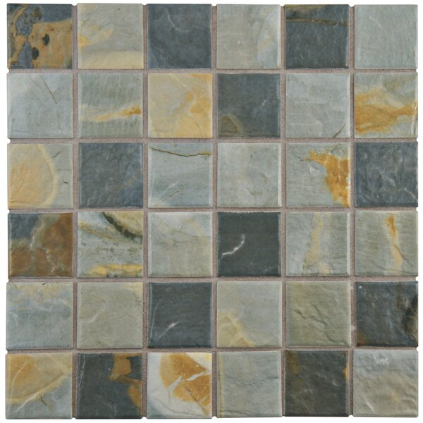 Arriba 1.85 x 1.85 Porcelain Mosaic Tile in Slate Brown/Gray by EliteTile