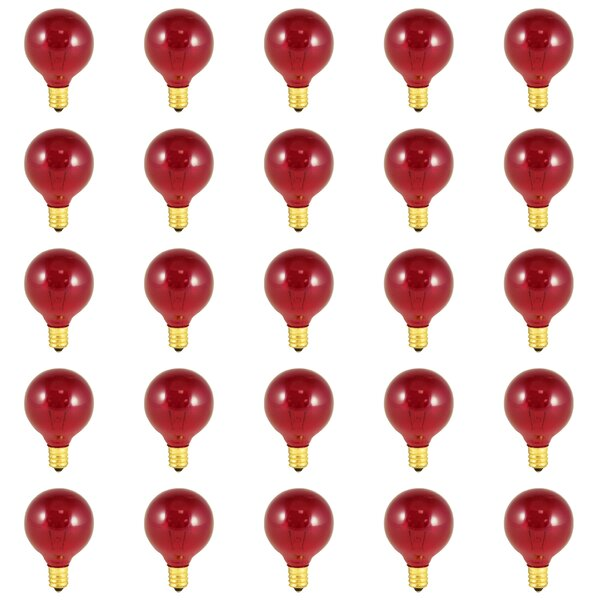 10W E12 Dimmable Incandescent Light Bulb Transparent Red (Set of 25) by Bulbrite Industries