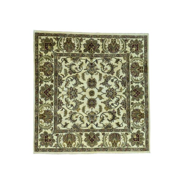 One-of-a-Kind Pfannenstiel Agra Oriental Hand-Knotted Ivory Area Rug by World Menagerie