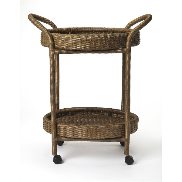Chet Rattan Bar Cart by Highland Dunes Highland Dunes
