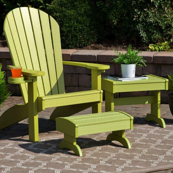 Kells 3 Piece Plastic Adirondack Chair Set with Ottoman and Table by Bayou Breeze