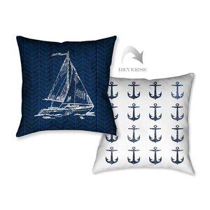 Navy Coastal Anchor Throw Pillow