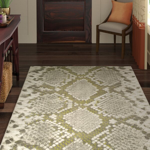 Fujii Light gray/Lime Area Rug by World Menagerie