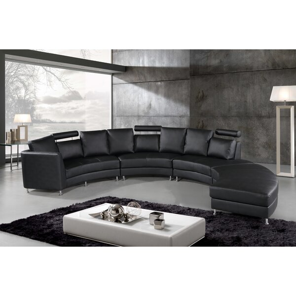 Bargains Canizales Symmetrical Leather Symmetrical Sectional with Ottoman by Wade Logan by Wade Logan