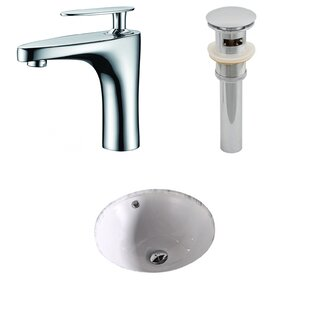 Order Ceramic Circular Undermount Bathroom Sink with Faucet and Overflow By American Imaginations