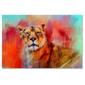 'Colorful Expressions Lioness' Graphic Art Print on Wrapped Canvas by Trademark Fine Art