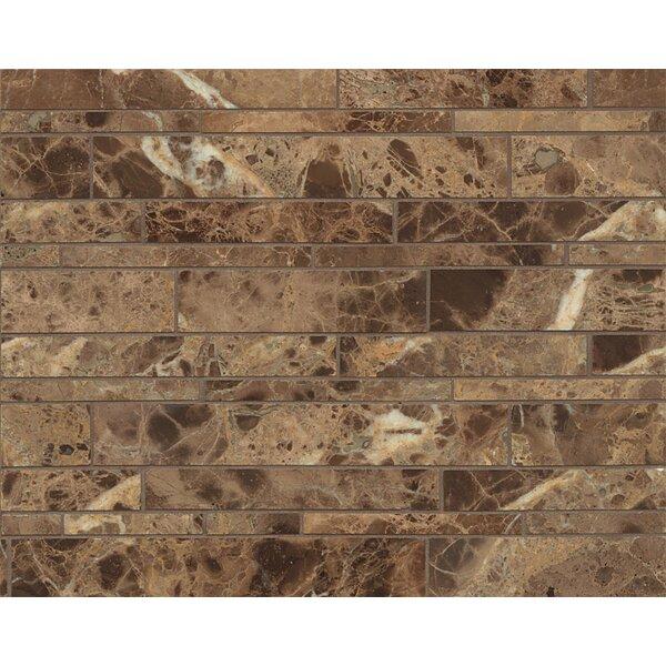 Random Linear Marble Polished Mosaic Tile in Emperador Dark by Grayson Martin