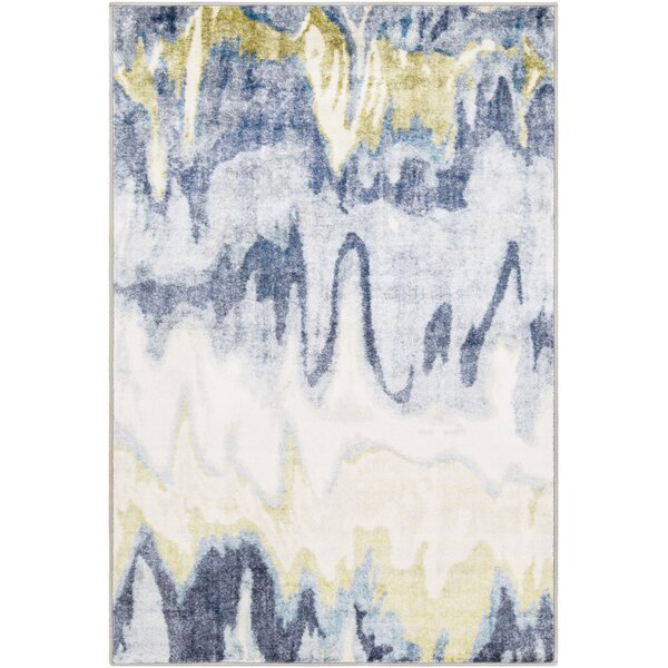 Dilbeck Abstract Olive/White Area Rug by Williston Forge
