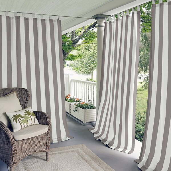 Berklee Striped Room Darkening Outdoor Tab Top Single Curtain Panel by Beachcrest Home