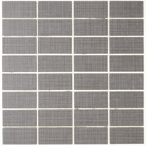 1 x 3 Ceramic Mosaic Tile in Modern Text Medium Gray by Itona Tile
