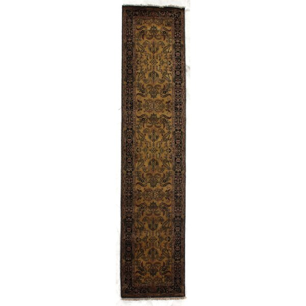 Mohajeran Sarouk Oriental Hand-Knotted Wool Gold/Black Area Rug