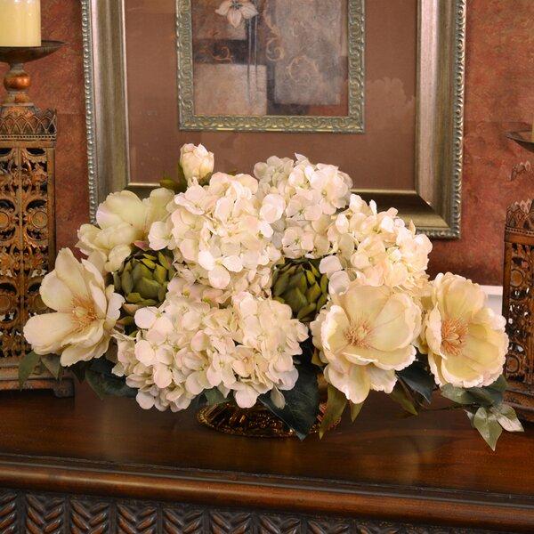 Darby Home Co Magnolia And Hydrangea Silk Floral Centerpiece