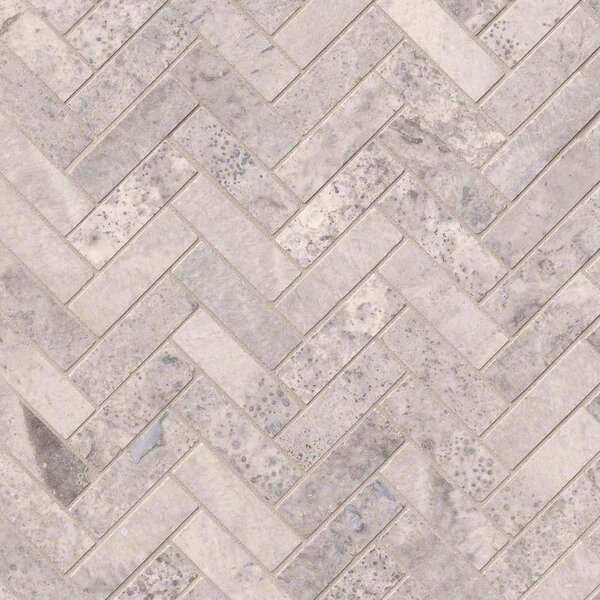 Herringbone Honed Random Sized Travertine Tile in Gray by MSI