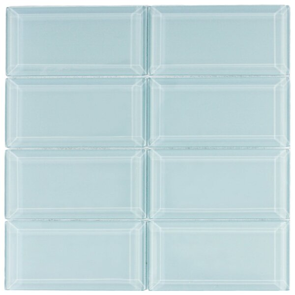 Hydrogen 3 x 6 Beveled Glass Mosaic Tile in Vapor by CNK Tile