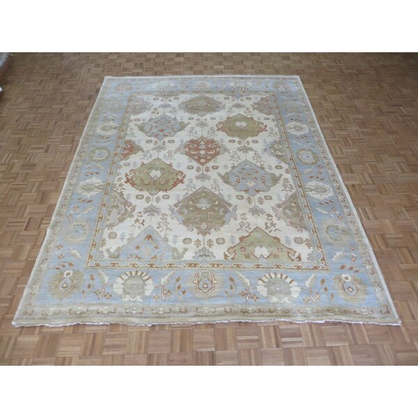 One-of-a-Kind Josephson Oushak Hand-Knotted Wool Ivory/Light Blue Area Rug by Canora Grey