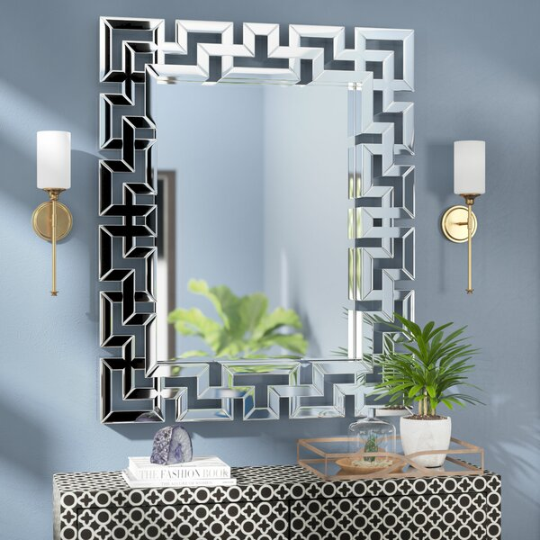 Rectangle Ornate Geometric Wall Mirror by Willa Arlo Interiors