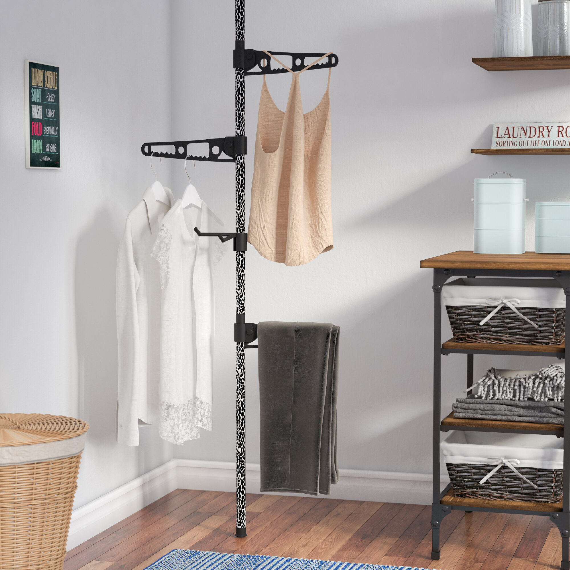 Towel Storage Set of 2 Radiator Clothes Airers Iron White /& Grey Laundry Drying Rails M/&W Radiators Clothes Hanger Compact Clothing Drying Rack