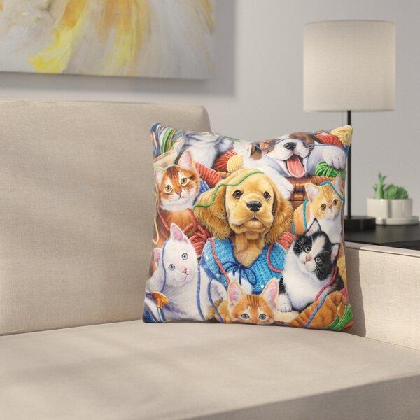 Yarn Buddies Throw Pillow by East Urban Home