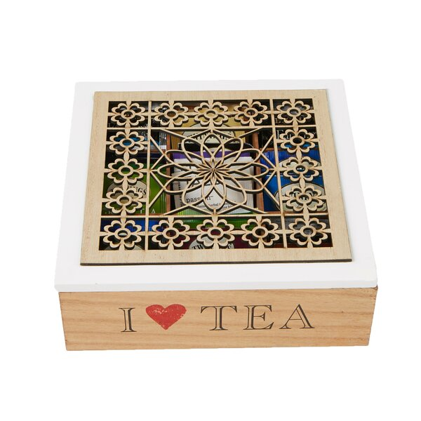 Storage Holder Tea Box with Wood Floral Pattern by Mind Reader