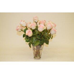 Faux pink flowers in vase wayfair light pink roses in glass vase mightylinksfo