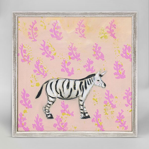 Brussels Rose Bowl Zebra by Creative Thursday by Marisa Framed Canvas Art by Harriet Bee
