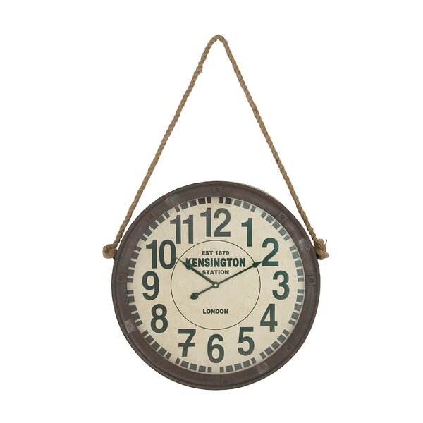Nadeen Rustic Roped Kensington 20 Wall Clock by 17 Stories