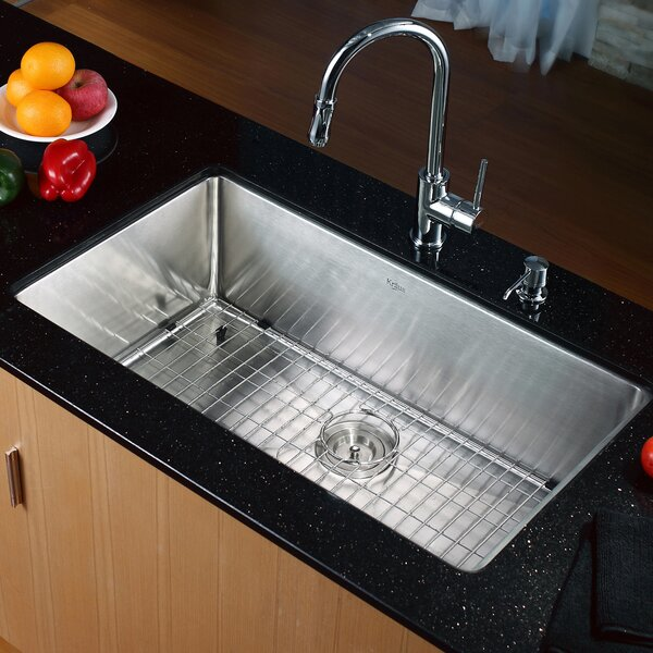 32 L x 19 W Undermount Kitchen Sink with Faucet and Soap Dispenser by Kraus