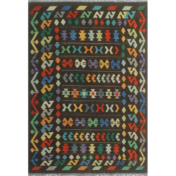 Corda Hand-Knotted Wool Black/Blue Area Rug by Bungalow Rose