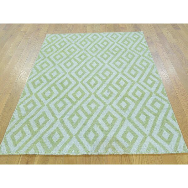 One-of-a-Kind Blandford Reversible Light Handmade Kilim Green Wool Area Rug by Isabelline