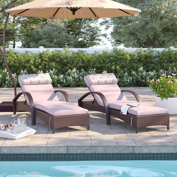Cerralvo Reclining Chaise Lounge Set with Sunbrella Cushion (Set of 2) by Sol 72 Outdoor Sol 72 Outdoor