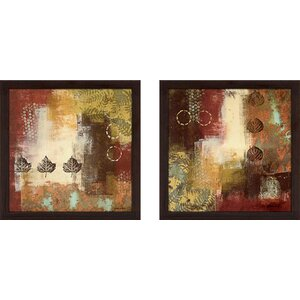 'Metallic Nature' 2 Piece Framed Acrylic Painting Print Set Under Glass by Zipcode Design